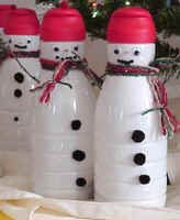 snowman made from coffee creamer container - filled with goodies for coworkers!!!!