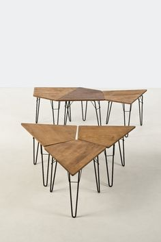 Willy Van Der Meeren; Oak and Enameled Metal Occasional Tables, c1955.