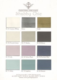 Shabby Chic colour board, colour inspiration for vintage Brocante interior home decor repinned by www.silver-and-grey.com
