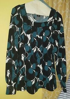 new directions med. blouse top long sleeve teal black