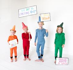 Kids group costumes can be hard! Check out our THE DAY THE CRAYONS QUIT costumes for all the littles in you life.