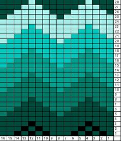 Epinette Chart Teal Ombre - can use for crochet using squares or for a quilt