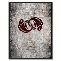 Pisces Horoscope Astrology Black Canvas Print, Black Custom Frame