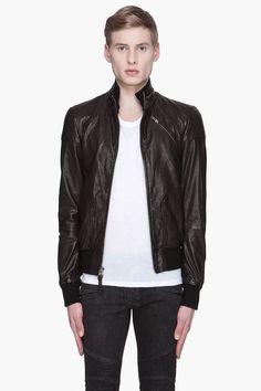 MACKAGE Black Distressed Leather Marco jacket