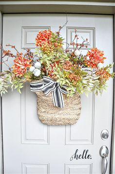 BRAMBLY FALL FRONT DOOR DECOR - StoneGable Fall Yard Decor, Fall Door Decorations, Seasonal Decor, Holiday Decor, Fall Bedroom, Front Door Decor, Front Porch, Porch Decorating, Decorating Ideas