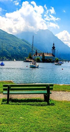 Cinematic View of Traunsee mountain lake in summer, Gmunden, Austria