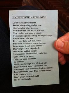 Simple Formula For Living (Quaker Newsletter)