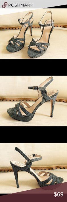 "VINCE CAMUTO Jessamae Metallic Platform Sandals VINCE CAMUTO Jessamae Metallic Platform Sandals. Size 9.5. Platform 1"". Heels 5"". New no  box. Metallic Fabric Straps. Man-made lining and sole. Vince Camuto Shoes Heels"