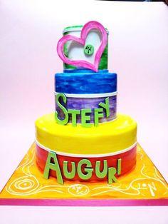 Rainbow Cake_Zumba Fitness - by Lucia Busico @ CakesDecor.com - cake decorating website