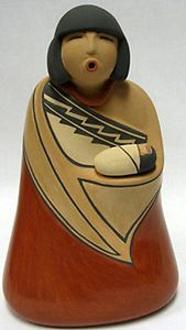 "Jemez Indian 7 3 8"" Maiden with Infant Pottery by Maxine R Gachupin Toya 