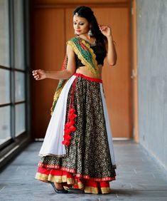 New Chaniya Choli & Blouse Designs for Navratri 2019 - LooksGud.in multicolored three layered chaniya choli for navratri Chaniya Choli Designer, Garba Chaniya Choli, Garba Dress, Navratri Dress, Lehnga Dress, Lehenga Choli, Garba Dance, Choli Designs, Lehenga Designs