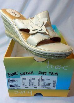d4ab108d6 Boc Bone Floral Leather Slide Sandals Wedge Rope Trim Womens Size 8 M   fashion