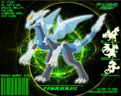Zarudus (Kyurem+Mega Charizard X+Thundurus (Therian Form)) Ice/Dragon/Flying Classification: Mist Dragon FUSEmon Client: Special Ability. Pokemon Fusion Art, Mega Pokemon, Pokemon Pokedex, Play Pokemon, Pokemon Pins, Cool Pokemon, Pokemon Stuff, Mega Evolution, Curious Creatures