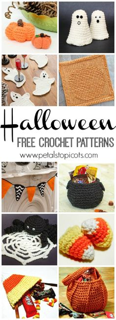Adorable pumpkins and scary-sweet ghosts, cauldrons and candy, trick-or-treating fun and spooky decor! Crochet up some seasonal delight with these free Halloween crochet patterns. Be sure to pin the image to bookmark it for season upon season of new Halloween patterns. | www.petalstopicots.com | #crochet #Halloween