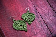 Green handmade crochet earrings