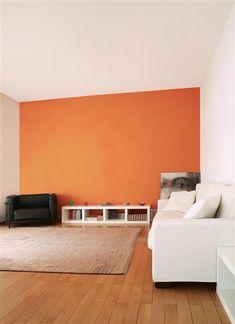 An orange wall panel, Inspirations, Tollens, color editor Orange Bedroom Walls, Orange Rooms, Orange Walls, Paint Colors For Living Room, Room Colors, Murs Oranges, Deco Orange, Wall Color Combination, Orange House