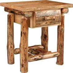 Amish Lodge Pole Pine One Drawer Nightstand Log Bedroom Furniture, Pine Wood Furniture, Live Edge Furniture, Furniture Decor, Furniture Hardware, Furniture Storage, Pine Nightstand, Cabin Chic, Rustic Table