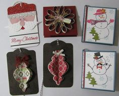 """Here are the Christmas Gift Tags for November Stamp Club. Each member will make two of each tag. Thanks for many inspirations here on SC. This is my favorite project to work on each year. Santa is made with the two tags die, bird builder punch, scallop oval punch, 1/2"""" circle punch, scallop border punch and half of a 2 1/2"""" circle (sizzix die)"""