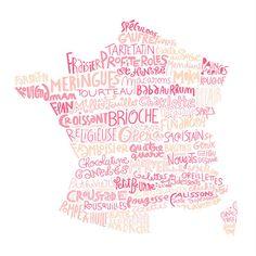 Carte de France des pâtisseries poster cuisine art par BnitoShop