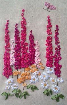 Wonderful Ribbon Embroidery Flowers by Hand Ideas. Enchanting Ribbon Embroidery Flowers by Hand Ideas. Flower Embroidery Designs, Paper Embroidery, Silk Ribbon Embroidery, Embroidery Stitches, Embroidery Patterns, Doily Patterns, Embroidery Supplies, Dress Patterns, Ribbon Art