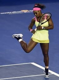 Serena Williams of the U.S. reacts as she plays Maria Sharapova of Russia during the women's singles final at the Australian Open tennis championship in Melbourne, Australia, Saturday, Jan. 31, 2015. (AP Photo/Andy Brownbill) #SerenaWilliams #2015AustralianOpen #tennis