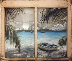 Window to a Caribbean Paradise- Painted Window Depicting an Afternoon Under the Shade of a Caribbean Palm Tree.
