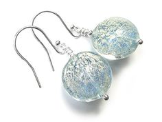 Murano Glass Lentil Earrings - Ice Blue and White Gold White Gold, Blue And White, Murano Glass, Gold Foil, Sterling Silver Jewelry, Ice, Pendant Necklace, Beads, Earrings