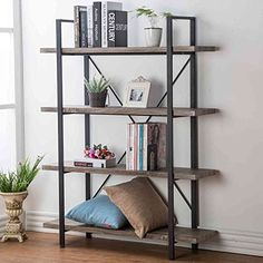 HSH Furniture 4-shelf Vintage Industrial Bookshelf, Rustic Wood and Metal Bookcase, Open Wide Office Etagere Book Shelf, Dark Oak - Vintage Industrial Design This bookcase's vintage industrial design is achieved via wood grain MDF and square steel tube frame and allow for this bookcase to fit in with any decor. Bear More Weight The reinforced cross bars offer increased stability, giving this storage rack more durability. High...