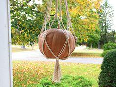 How to Make a Macrame Pumpkin Holder >> http://blog.diynetwork.com/maderemade/how-to/diy-macrame-pumpkin-holder/?soc=pinterest