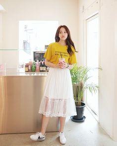 korean fashion casual street mustard yellow shirt long skirt lace translucent white korean fashion c Korean Fashion Casual, Korean Fashion Trends, Asian Fashion, Trendy Fashion, Fashion Ideas, Style Fashion, Casual Korean Outfits, Korean Fashion Summer Street Styles, Korean Summer Outfits
