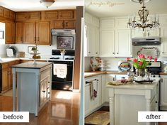 Small Kitchen Remodels Before And After Inspiring 35 Cheap Small Kitchen Refacing Ideas Before Nice Painting Kitchen Cabinets, Kitchen Paint, Kitchen Redo, New Kitchen, Kitchen Dining, Oak Cabinets, Kitchen Ideas, White Cabinets, Dining Rooms