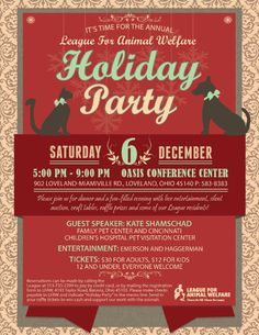 It's hard to believe, but the League's Annual Holiday Party is practically around the corner! As always, it will be a memorable evening of entertainment, raffle prizes, a silent auction and, of course, some special furry guests. To get tickets, click here: http://lfaw.org/the-leagues-annual-holiday-party/