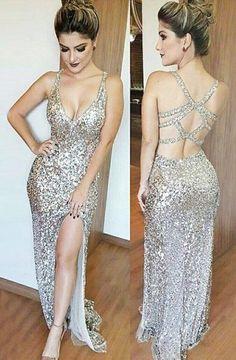 Mermaid Deep V-Neck Floor-Length Split-Side Open Back Silver Sequined Prom Dress TP0067