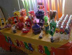 Candy bar: banner corbatas cin nombre, personajes, botellas de agua, mini banner corbatas #maiaink