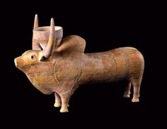 Slip-painted Terracotta Sculpture of a Zebu Bull - LO.625 Origin: Central Asia Circa: 2800 BC to 2600 BC