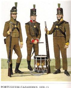 Portuguese Caçadores 1808-15  Left, Fusilier -1808/09 Fair well uniformed and dressed  Centre, Drummer-1810/15 Regimental uniforns with distinctive lace edging the colar and cuffs.  Right, Fusilier, 1810/15 This is the standard dress during the campaigns with Wellington which took them from Portugal to France.