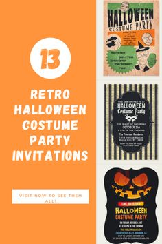 Visit now to see 13 creepy cool retro style Halloween costume party invitations that you can use to gather the gang on October 31st. #Halloween #costume #party #invitations Halloween Costume Party Invitations, Halloween Costumes, Retro Halloween, Retro Images, Party Needs, Retro Style, Invites, Retro Fashion, Creepy