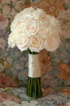 A Beautiful Wedding Posy Made Up Of Creamy White Roses