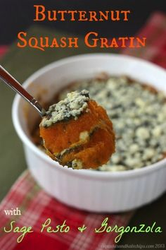 Butternut Squash Gratin with Sage Pesto & Gorgonzola - Cupcakes & Kale Chips – ENJI Daily Best Vegetable Recipes, Raw Food Recipes, Cooking Recipes, Paleo Vegetables, Veggies, Yummy Eats, Yummy Food, Side Dish Recipes, Side Dishes