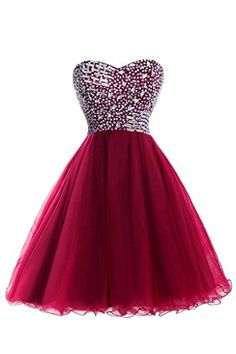 AliDress Homecoming Dresses Beaded KneeLength Tulle Short Prom Dresses Size 2 US Burgundy -- You can get additional details at the image link. (This is an affiliate link) #PromandHomecomingDress