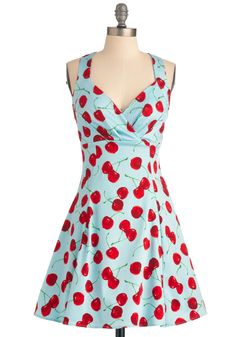 You Are Cherry Welcome Dress. You wouldnt imagine arriving at your friends fete without bringing your signature cherry pie, and you cant think of a reason not to wear a matching dress, as well! #blue #modcloth