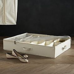 Twill Underbed Divided Storage with Ticking I Crate and Barrel