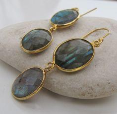 Labradorite Gold Earrings- Silver Stone Earrings- Dangle Earrings- Gemstone Earrings- Labradorite Earrings- Silver Earrings on Etsy, $76.66