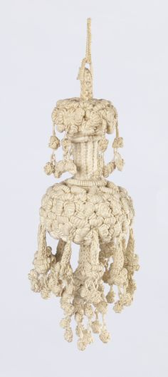 Tassel (Italy) ~ 17th century ~ linen, metal wire, metal sequins, wooden core ~ braided and knotted ~ Cooper Hewitt