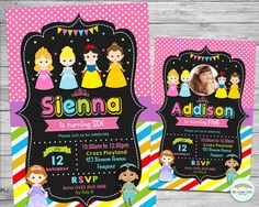 Princess Personalized Invitation, Princess Invite, Custom, Digital, Printable, Birthday Party, 1st Birthday, Photo, Rainbow, Pink, Boutique by Lollipop Party Supplies