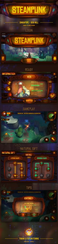 Concept Game Ui Design - HOB-STEAMPUNK on Behance