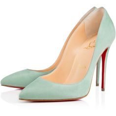 Christian Louboutin Pigalle Follies ($675) ❤ liked on Polyvore featuring shoes, pumps, heels, christian louboutin, louboutin, amande, high heel shoes, high heel pumps, suede pumps and christian louboutin stilettos