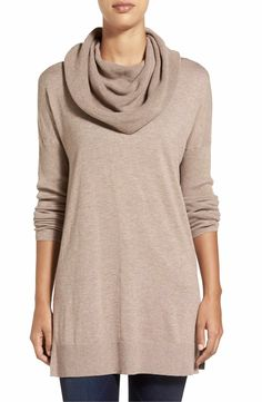 Main Image - Caslon® Side Slit Cowl Neck Tunic (Regular & Petite)