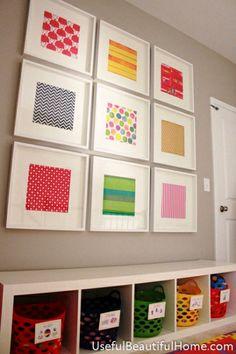 Scrapbook paper collage. Ikea frames.