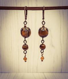 Long Tigers Eye Bronze Gemstone French Hook Earrings [E81] by BourneBling on Etsy